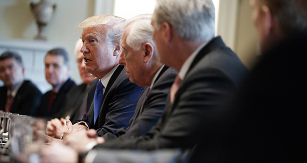 President Donald Trump speaks during a meeting with lawmakers on immigration policy in the Cabinet Room of the White House on Tuesday, Jan. 9.