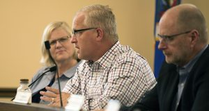 Rep. Jim Nash, R-Waconia (center), pictured at a July 10 hearing, sparred with State Auditor Rebecca Otto when she testified before the State Government Finance Committee last March. He accused Otto of using her suit to undo 2015 legislation affecting her office is a ploy by a gubernatorial candidate trying to manufacture a campaign issue. (Staff photo: Kevin Featherly)