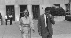 Washington Post Publisher Katharine Graham and Execuctive Editor Ben Bradlee leave U.S. District Court in Washington on June 21, 1971 , happy with Judge Gerhard A. Gesell's ruling the the paper could publish further articles about a Pentagon report on Vietnam. Later however, the U.S. Court of Appeals extended a ban against publishing the documents. Eventually, the Supreme Court ruled in New York Times Co. v. United States that the Times and the Post could print the documents, basing the decision largely on the precedent of Near v. Minnesota. (AP photo)