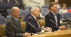 Senate Majority Leader Paul Gazelka, R-Nisswa, Gov. Mark Dayton, and House Speaker Kurt Daudt, R-Crown, appear happy together at the annual pre-session briefing hosted by Forum News Service on Tuesday. (Staff photo: Kevin Featherly)