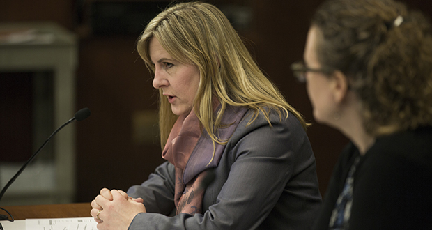 House Minority Leader Melissa Hortman, DFL-Brooklyn Park, testifies for House File 3465 before the Public Safety and Security Policy and Finance Committee Wednesday. Her bill closes a loophole that provides defense against rape charges in some cases where the parties are married or domestic partners. (Staff photo: Kevin Featherly)