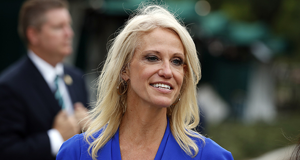 """Before Alabama's special U.S. Senate election, Kellyanne Conway went on Fox News's """"Fox and Friends"""" and on CNN's """"New Day"""" in her role as presidential adviser. While on air, she sought to affect the outcome of the election by promoting Republican Roy Moore and trashing Democrat Doug Jones. (AP file photo)"""