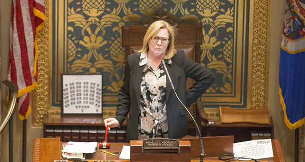 Lt. Gov./Sen. Michelle Fischbach, R-Paynesville, presides over the Senate's opening session Feb. 20. (Staff photo: Kevin Featherly)