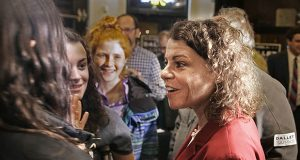 Judge Rebecca Dallet greets supporters as they watch election returns Tuesday night at Good City Brewing in Milwaukee, Wisconsin. (AP photo: Milwaukee Journal-Sentinel)