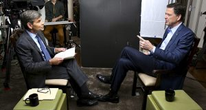 In this image released by ABC News, correspondent George Stephanopoulos, left, appears with former FBI director James Comey for a taped interview that aired April 15. (AP photo: ABC)