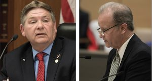 House committee chairman Brian Johnson, pictured at left, permitted the House Public Safety bill to include a raft of policies. In contrast, Senate committee chair Warren Limmer, pictured at right, allowed just one exception to his no-policy rule. (Staff photos: Kevin Featherly)
