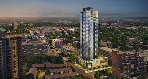 The 42-story 200 Central condominium development Alatus LLC plans to build in northeast Minneapolis will tower over neighboring buildings. (Submitted illustration: ESG Architects)