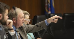Rep. Dean Urdahl, R-Grove City, the House Capital Investment Committee's chair, points toward a committee member during a May 4 hearing. There the House's $825 million bonding bill was approved and moved over to Ways and Means. The Senate was expected to roll out its own version sometime on Wednesday or Thursday. (Staff photo: Kevin Featherly)