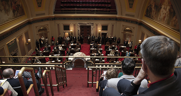 Senators work Sunday night as the end of the 2018 legislative session looms. (Staff photo: Kevin Featherly)