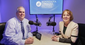 Todd Scott, vice president of risk management at Minnesota Lawyers Mutual Insurance Co., with Jayne Harris, vice president of business development, in the company's webcast studio. (Staff photo: Bill Klotz)