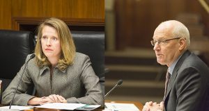 Rep. Sarah Anderson, R-Plymouth, says transferring the duties of the Data Practices Office would lead to process improvements for those seeking government data. Myron Frans, the Minnesota Management and Budget commissioner, says there are no service deficiencies that require transferring the duties of the Data Practices Office. (File photos)