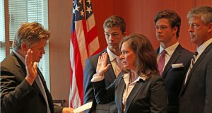 U.S. District Court Chief Judge John Tunheim administers the oath to Erica MacDonald, the new U.S. attorney for Minnesota. (Submitted image)