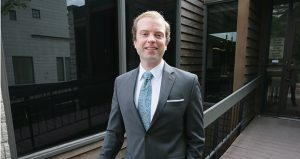 Noah Johnson, the Grassroots-Legalize Cannabis candidate for attorney general, is a 29-year-old Minneapolis attorney who got accepted to the state bar just a month ago. (Staff photo: Bill Klotz)