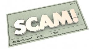 Scam Fraud Money Stealing Theft Word Check 3d Illustration