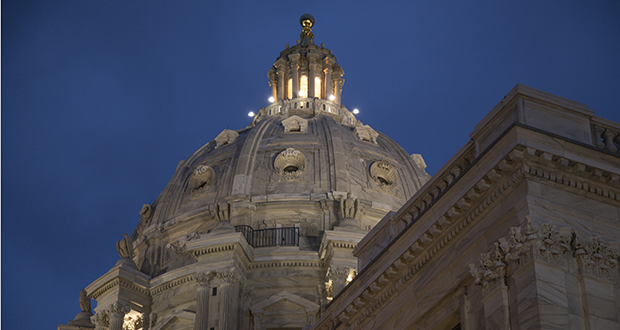 The Minnesota Capitol dome is viewed on the evening of May 19. (File photo: Kevin Fatherly)