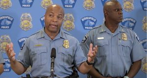 Minneapolis Police Chief Medaria Arradondo, left, addresses the media June 7 at City Hall in Minneapolis. Arradondo said the police will stop arresting people on low-level marijuana charges in the wake of sting operations that resulted in the disproportionate arrests of black people. (AP photo: Star Tribune)