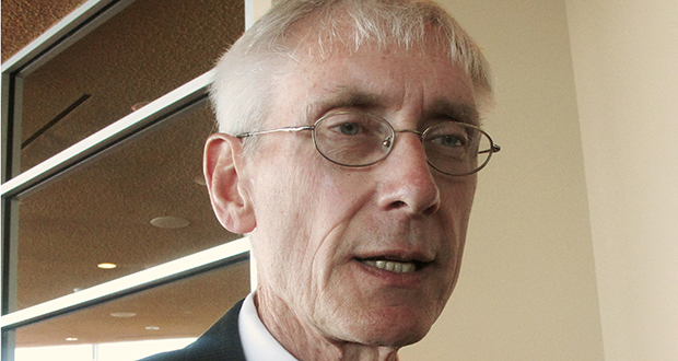 Superintendent Tony Evers talks with reporters in Madison, Wisconsin, on March 15, 2017. (AP file photo)