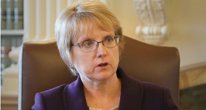 """""""There is no better time to talk to elected officials and candidates about the importance of our justice system then when they are asking for your vote,"""" Chief Justice Lorie Gildea said in her State of the Judiciary address. (File photo: Bill Klotz)"""