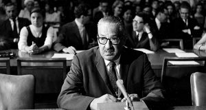 President Lyndon Johnson's nomination of Thurgood Marshall to the U.S. Supreme Court represented a direct challenge to the Dixiecrats who ran the Senate. Naturally they had to take the time to do all that they could to discredit him. Naturally Marshall refused to engage. In this photo, Marshall awaits questioning by the Senate Judiciary Committee on July 18, 1967. (AP file photo)