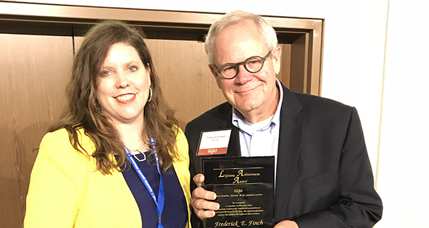 Outgoing MSBA President Sonia Miller Van Oort presented the President's Award to Fred Finch in recognition of his years of bar service to the MSBA and the American Bar Association. (Photo: Paul Godfrey)
