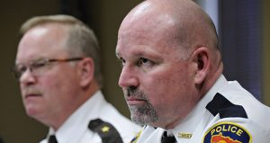 Cold Spring Police Chief Bill Jones, right, and Stearns County Sheriff John Sanner answer questions at a news conference at Cold Spring City Hall on Friday, Nov. 30, 2012, the day after Officer Thomas Decker was shot and killed. (AP file photo: The St. Cloud Times)