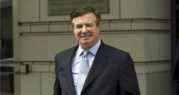 This May 23 photo shows Paul Manafort, President Donald Trump's former campaign chairman, leaving the Federal District Court after a hearing in Washington. (AP file photo)