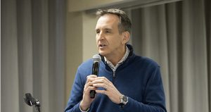 Former Gov. Tim Pawlenty spoke at a Minnesota Precision Manufacturing Association event in February. He is seeking the Republican nomination to get his old job back. (File photo: Matt Johnson)