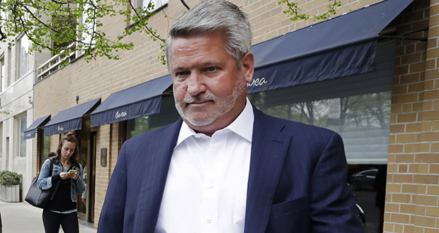In this April 2017 photo, then-Fox News co-president Bill Shine, right, leaves a New York restaurant. (AP file photo)