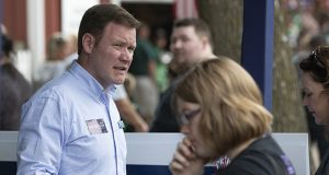 GOP Attorney General candidate Doug Wardlow, pictured Saturday at the Minnesota State Fair, says Democrat Keith Ellison's inactive attorney's license could be problematic if he is elected. But the Ellison campaign says the issue is being dealt with. (Staff photo: Kevin Featherly)