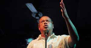 U.S. Rep. Keith Ellison speaks to supporters Tuesday in Minneapolis shortly after he was declared the winner of the DFL primary in the state attorney general's race. (Staff photo: Kevin Featherly)