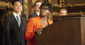 Shawntera Hardy, commissioner of the Department of Employment and Economic Development, speaks during a press conference Wednesday in the governor's Capitol Reception Room. Hardy disputes claims by a public watchdog group that DEED has withheld information about the state's Amazon's HQ2 project bid. (Staff photo: Kevin Featherly)
