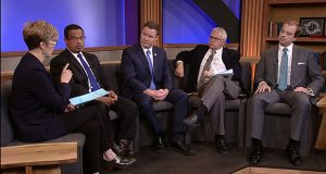 """TPT-TV's """"Almanac"""" host Cathy Wurzer directs a question at GOP candidate Doug Wardlow (center), while DFLer Keith Ellison and third-party candidate Noah Johnson (right) look on. Co-host Eric Eskola appears to Johnson's right. (Photo: Twin Cities PBS)"""