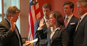 U.S. District Court Chief Judge John Tunheim administers the oath of office to Erica MacDonald, the new U.S. attorney for Minnesota. (Submitted image)