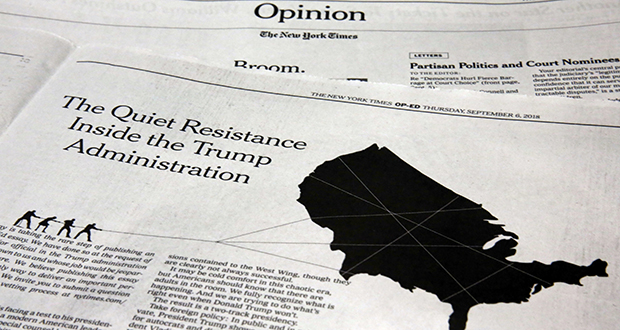 This photo shows an anonymous opinion piece in The New York Times last week. (AP photo)