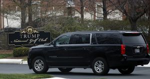 A vehicle with President Donald Trump's motorcade enters the Trump National Golf Club in Potomac Falls, Virginia, on March 26, 2017. (AP file photo)