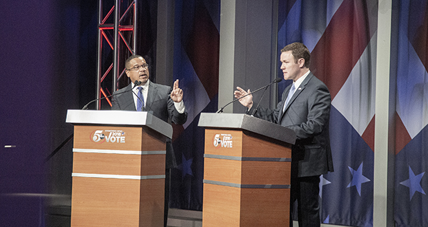 Minnesota's attorney general candidates, DFLer Keith Ellison and Republican Doug Wardlow, squared off in a contentious debate Sunday night, each leveling charges of extremism at the other. (Staff photo: Kevin Featherly)