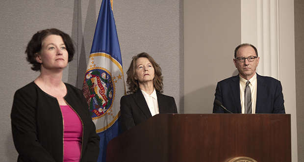 Lawyers Elizabeth Glidden (left), a former Minneapolis City Council member, Carla Hagen (center), a former Hennepin County senior attorney and Prentiss Cox, a former lawyer in the Minnesota Attorney General's Office, met with reporters in St. Paul Monday. They condemned GOP attorney general candidate Doug Wardlow's pledge, secretly recorded at a fundraiser, to fire 42 Democratic lawyers if he is elected. (Staff photo: Kevin Featherly)
