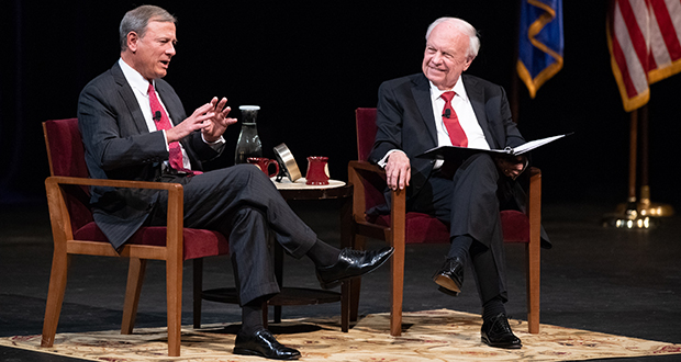 Chief Justice John Roberts, left, speaks during his conversation with former University of Minnesota Law School Dean Robert Stein on Tuesday at Northrop Auditorium in Minneapolis.