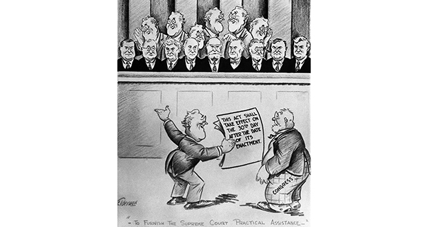 This editorial cartoon depicts President Franklin Roosevelt and the Supreme Court on Feb. 6, 1937. (AP file photo)