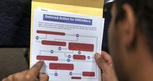 A legal immigrant reads a guide of the conditions needed to apply for Obama-era Deferred Action for Childhood Arrivals (DACA) program at the Coalition for Humane Immigrant Rights, CHIRLA offices in Los Angeles. (AP file photo)