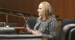 Lisa Moon, CEO of Advocate Consulting and a former Minnesota Department of Health privacy security director, testifies Nov. 16 before the Legislative Commission on Data Practices. (Staff photo: Kevin Featherly)