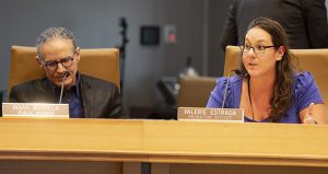 Sentencing Guidelines commissioner Valerie Estrada, who represents Minnesota's probation officer community on the panel, airs her views at a Nov. 8 hearing. Fellow Commissioner Mark Wernick, a retired Hennepin County judge, is also pictured. (Staff photo: Kevin Featherly)
