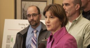 """One new website is expected to include a list and summary of her Lori Swanson's 50 pieces of """"landmark litigation"""" as attorney general. Swanson is shown here at an Oct. 26 news conference. (Staff photo: Kevin Featherly)"""
