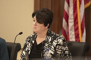 Rep. Deb Kiel, R-Crookston, presides over a Subcommittee on Workplace Safety and Respect hearing on Dec. 14. (Staff photo: Kevin Featherly)