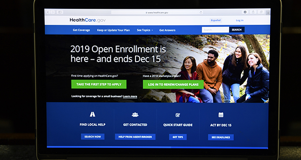 In this Nov. 1 photo, the federal website where consumers can sign up for health insurance under the Affordable Care Act is shown on a computer screen in Washington. (AP photo: HealthCare.gov)