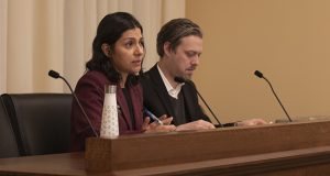 Cristina Parra, left, an attorney and nonpartisan legislative analyst, testifies before the House Workplace Safety and Respect Subcommittee on Dec. 14. Beside her is Ben Weeks, legislative analyst and House counsel. (Staff photo: Kevin Featherly)