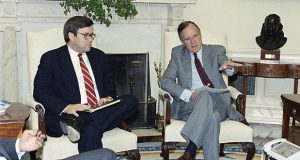 Attorney General William Barr, left, attends a White House meeting with President George H.W. Bush on May 4, 1992. Barr advised Bush to pardon six officials from Ronald Reagan's administration for crimes associated with the Iran-contra affair. (AP file photo)