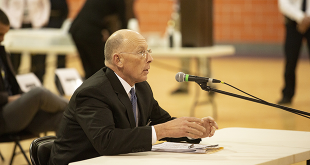 Corrections Commissioner Paul Schnell testifies before the House Corrections Subcommittee during a hearing last week in a Stillwater prison gymnasium. (Staff photo: Kevin Featherly )