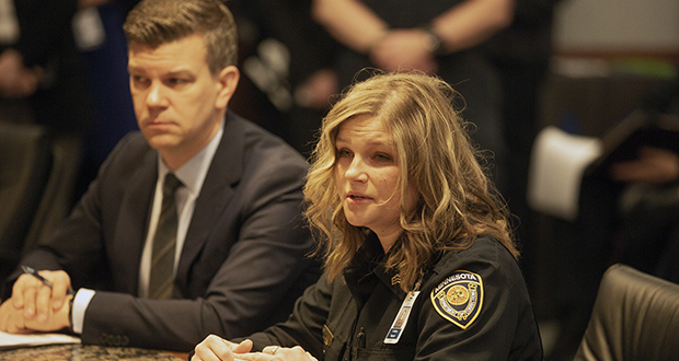 Shakopee Corrections Sgt. Anna Koktam testifies beside House Majority Leader Ryan Winkler during a Feb. 26 House Corrections subcommittee hearing. (Staff photo: Kevin Featherly)