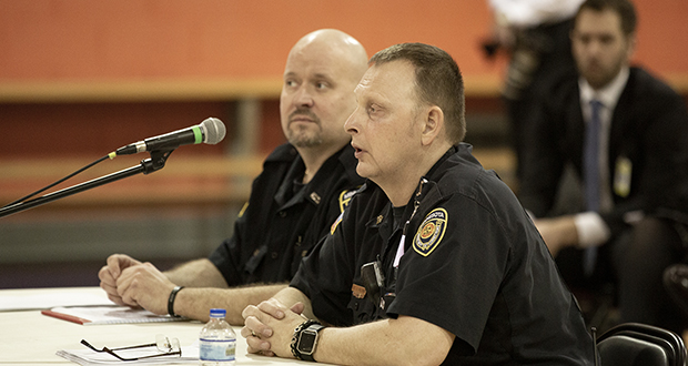 John C. Hillyard, a Stillwater state prison corrections officer, testifies before the House Corrections subcommittee at the prison Wednesday. To his right is Jeff Vars, a corrections officer at the Oak Park Heights prison. Both men also are officers in their union locals. (Staff photo: Kevin Featherly )